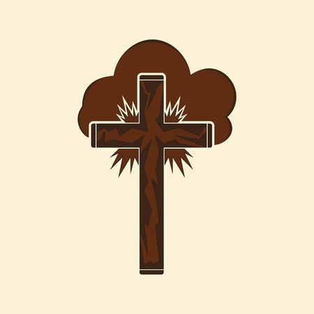 Christian cross in the clouds and in the rays sun. Logo for the Christian church.