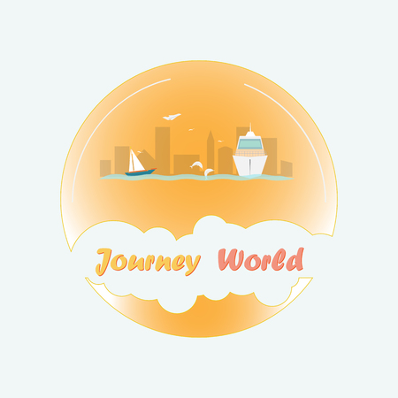Tourist emblem for travel agencies and tour operators. A round logo with a yacht, a ship and a city in the center. The text is in a frame in the form of a cloud. Standard-Bild - 104371557
