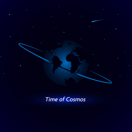Vector illustration with the image of the planets earth. Bright cosmic background with planet, stars and comet. Standard-Bild - 104761700