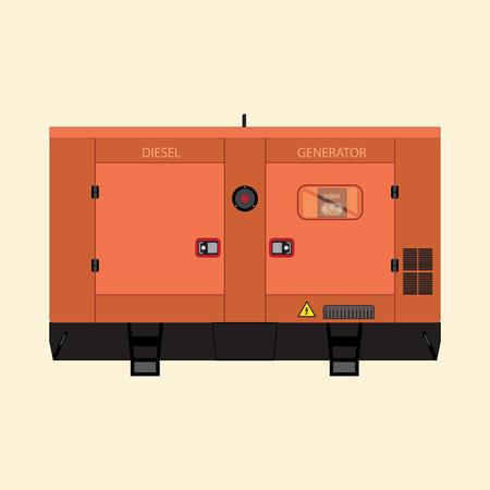 Generador industrial diesel sobre un fondo blanco en un estilo plano.