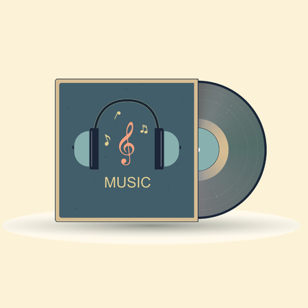 A vinyl record featuring audio headphones and a treble clef. The icon symbolizes the music studio. Standard-Bild - 105203248