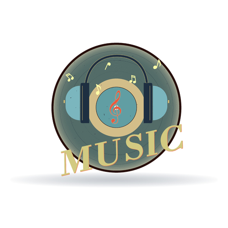 A vinyl record featuring audio headphones and a treble clef. The icon symbolizes the music studio.