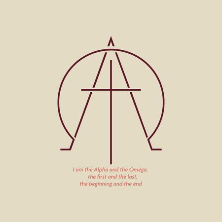 Logotipo cristiano con la imagen de la cruz y las letras Alfa y Omega. El logo está hecho con un estilo sencillo.