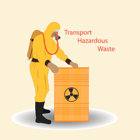 A person in a special protective suit closes the barrel, with hazardous waste. Warning poster.