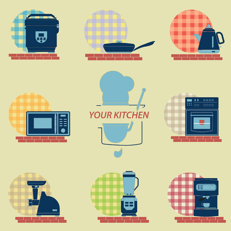 Set of kitchen icons with images of household appliances for the kitchen. In the set there is a logo symbolizing the chef. Standard-Bild - 107349912