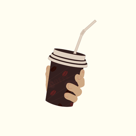 Coffee in a plastic Cup with a tube on a white background. The hand holds a plastic cup with a lid. The hand holds a plastic cup with a lid and a tube. Standard-Bild - 110341635