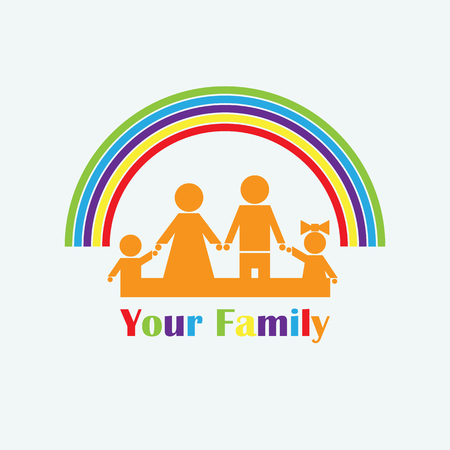 Logo with the image of the family and the rainbow. Dad, mother, daughter, son are standing under a multicolored rainbow.