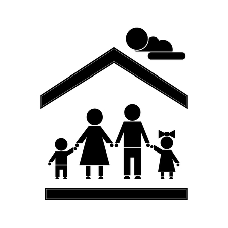 A family of four people stands holding hands in a house. Simple stick figures of people under the roof. Illustration