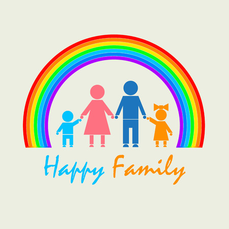 Logo with the image of the family and the rainbow. Dad, mother, daughter, son are standing under a multicolored rainbow. Standard-Bild - 107897156