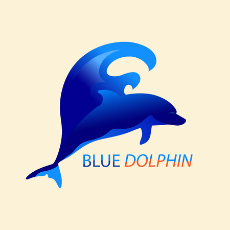Blue dolphin on the sea wave. Logo of a dolphin jumping out of the water.