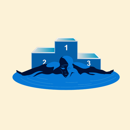 Sports logo of a swimmer and the pedestal on a white background. Vector emblem of the club on swimming, painted in blue tones.