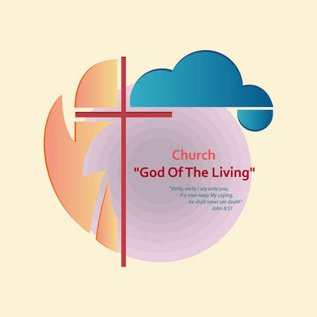 Abstract Christian logo on a religious theme. In the center of the logo the Christian cross, around it a cloud and an abstract background. Vector illustration is made in a flat style. Ilustracja
