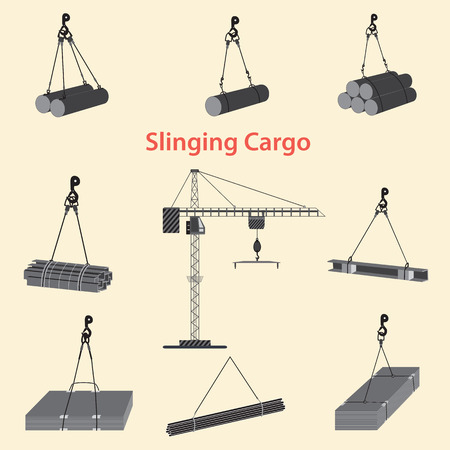 Construction crane for slinging and lifting cargo. Proper use of slinging during the operation of a tower crane at the construction site. Standard-Bild - 108839686