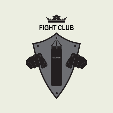 Vector emblem of the fight club with the image of two fists and knights shield. The logo designates the training center for combat training. Ilustracja