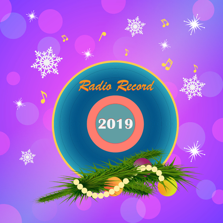 Radio greeting card Happy New Year. Vinyl record and Christmas tree branch, with Christmas toys on a colorful background with snowflakes and musical notes.
