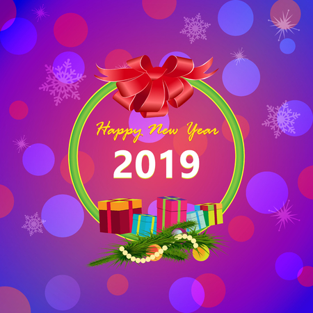 Happy New Year greeting card. Bright colorful background featuring a bow, gifts and a pine branch with toys. Congratulations on the 2019 year.