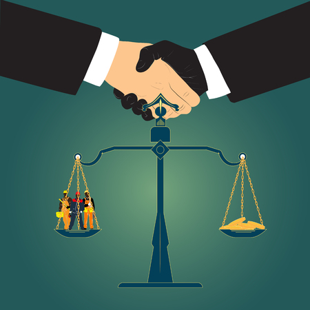 Business poster contract. Vector illustration depicting the handshake of two people. Scales in the foreground, in the bowl of which there are people of working specialties.