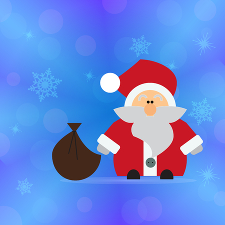 Santa Claus with a bag of gifts on a bright blue background. Greeting card Happy New Year. Ilustracja