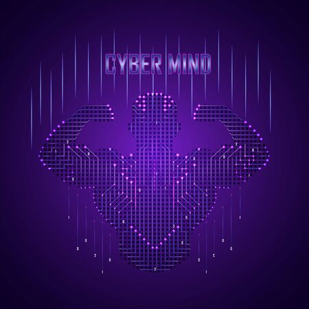 A cyber brain in the form of a strong person consists of a stream of data. Powerful artificial intelligence in the form of an athlete on a purple background.