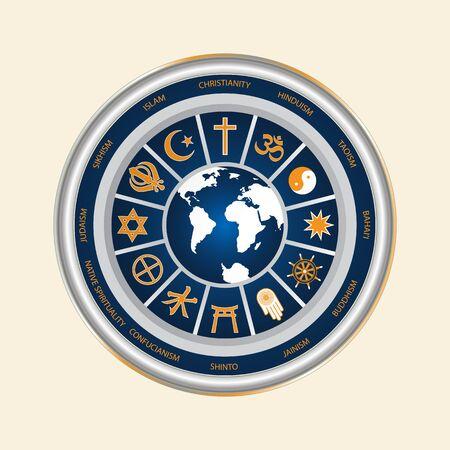 A circle of religious symbols.