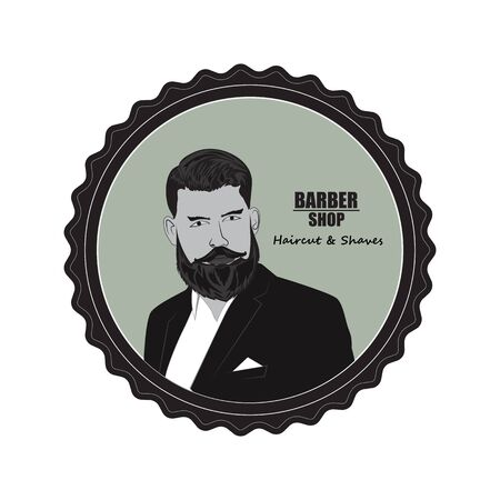 The face of a man with a beard in a round edging, symbolizing a Barber shop. Stylish and signboard for hair salons.