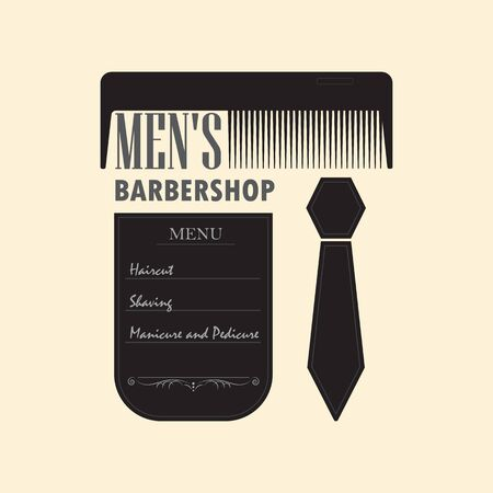 Mens hair salon with a menu sign. Signboard barber shop with a picture of a comb and a mans tie. Ilustração