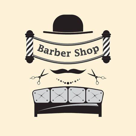 Signboard for a hairdresser and barbershop salons on a white background. Hair salon accessories. Ilustração