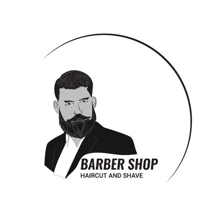 The face of a man with a beard in a round edging with text. Hairdressing and mens salons. Vector illustration is made in black and white style.
