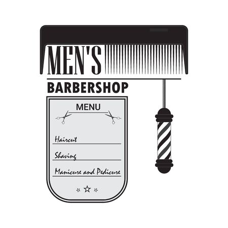 A mens hair salon. Signboard barber shop with a picture of a comb and barber pole.