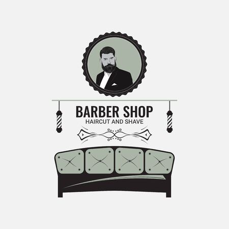 Barbershop decorated in retro style. Signboard for a hairdresser and barbershop salons on a white background. Logo with hair salon accessories.