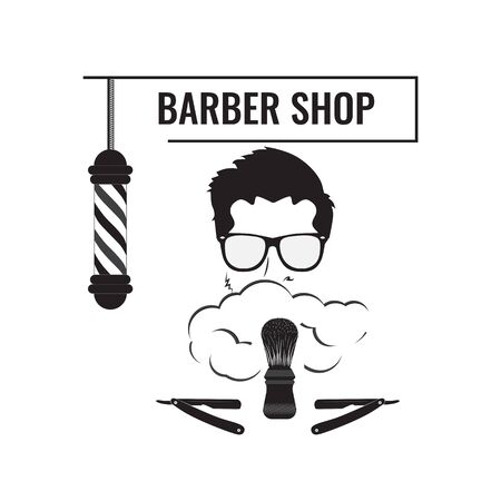 Signboard for Barber shops and beauty salons. Image of a man wearing glasses with shaving foam on his face. Vector image is made on a white background, in black and white colors.