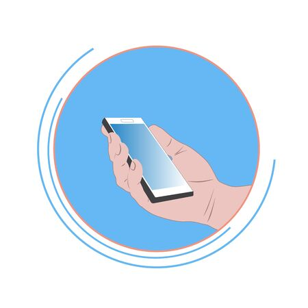 Mobile phone in hand on a round, blue background. Icon with vector image of mobile technologies. Ilustração