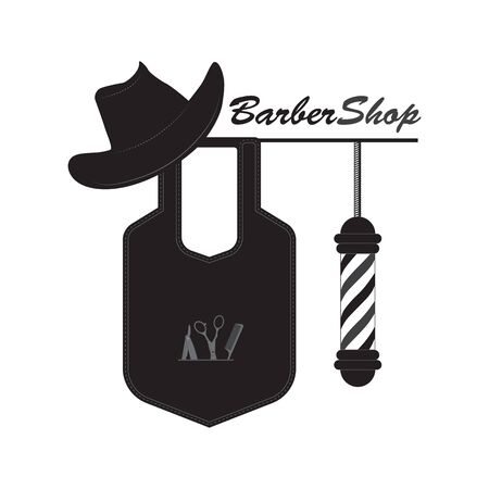 Vector image of objects symbolizing the Barber shop. Logo for hair salons and mens salons. Cowboy hat with apron and barber pool on white background.