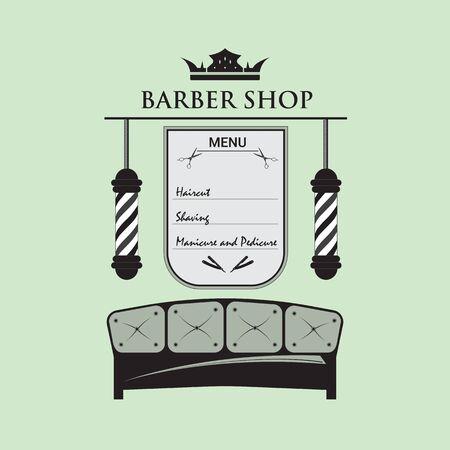 Enseigne pour salon de coiffure, décorée dans un style rétro. Logo avec accessoires de salon de coiffure. Le menu avec les services d'un coiffeur pour hommes.