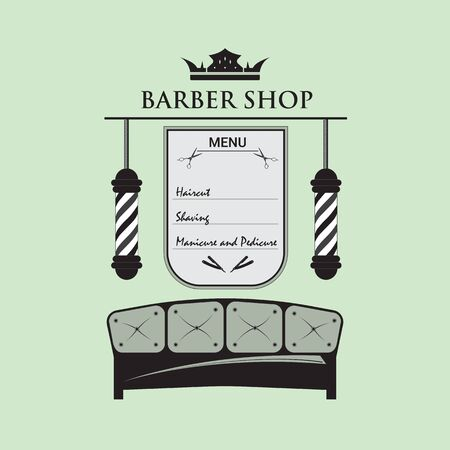 Signboard for barbershop, decorated in retro style. Logo with hair salon accessories. The menu with the services of a hairdresser for men.