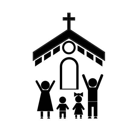 Strichmännchen von Menschen, die mit der ganzen Familie zur Kirche gehen. Eine vierköpfige Familie betet zu Gott.
