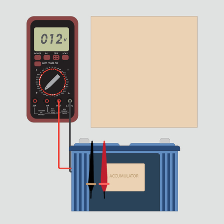 A multimeter measures the voltage of a car battery. Accumulator, voltmeter and frame for text information. Ilustracja