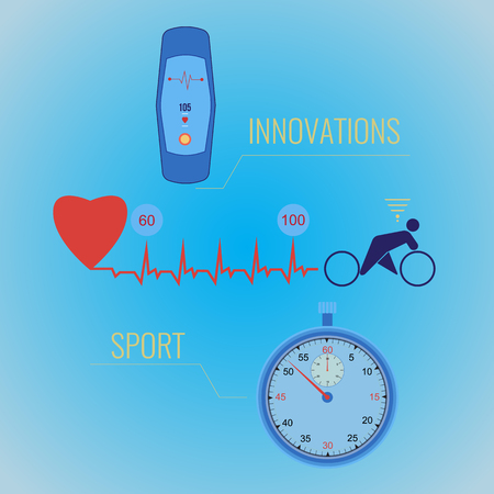 Sports infographics, reporting on the load on the heart through training. Innovative sports technology in the training process. Heart rhythm on fitness bracelet and stopwatch. Ilustracja