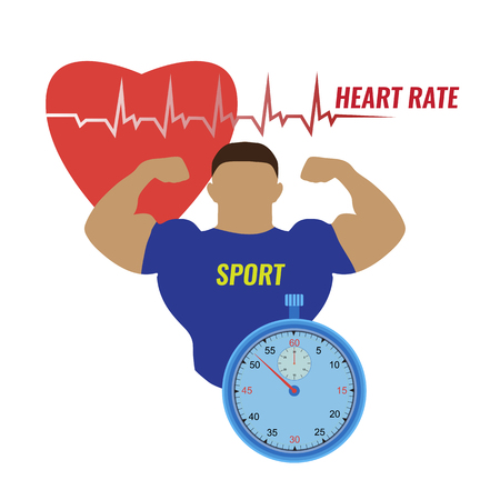Vector illustration of a strong man and the work of his heart, measured with the help of a stopwatch on white background. Sport and heart rhythm on a stopwatch. Ilustracja