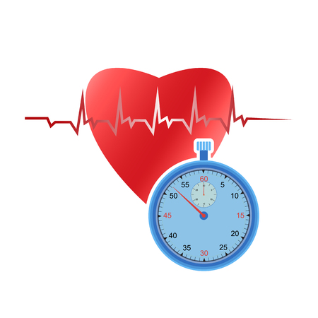 Human heart and stopwatch on white background. Measure the heart rhythm using a stopwatch. Ilustracja