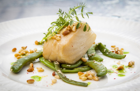 chilean sea bass with peas