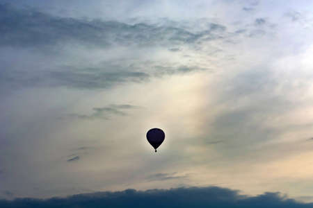 balloon in the late evening in the sky. Copyspace Stock Photo
