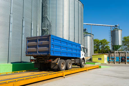 loading grain by trucks onto the elevator into metal containers.