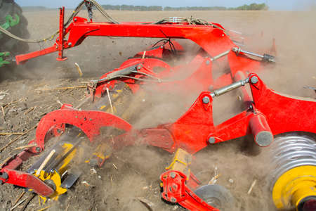 work of the trailed unit for tillage in the field.