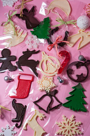 Christmas toys printed on a 3D printer with chocolate.