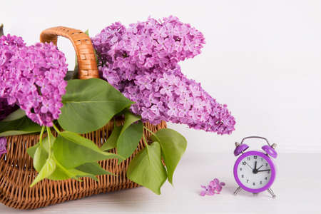 Bouquet of lilac in wicker basket with purple alarm clock on white background.