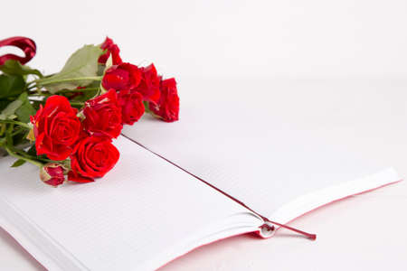Bouquet of red roses with open notebook on white background. Stock Photo