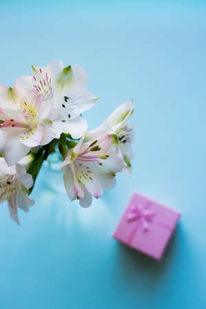 Beautiful tender bouquet of white Alstroemeria with pink gift box on mint background. Spring composition. Springtime. Mother`s day card.