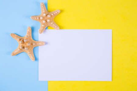 Empty paper sheet with two starfishes on colored blue and yellow backgrounds with negative space. Minimalistic colorful summer background. Top view. Flat lay in marine style.