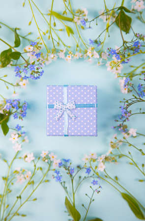 Blue gift box surrounded with blue and white little flowers on light mint background. Spring present with flower frame.